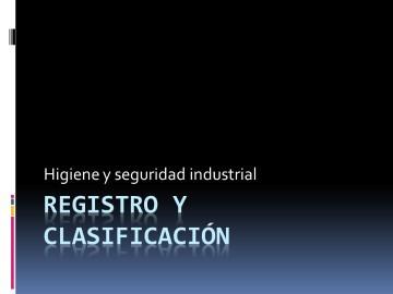 Registro y clasificacion