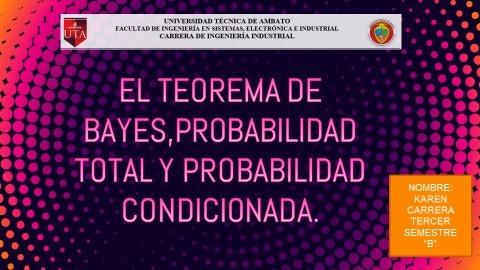 Karen Carrera Teorema De Bayes, Probabilidad Total y Probabilidad Condicionada