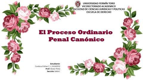 El Proceso Ordinario Penal Canónico