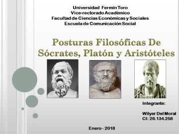 Posturas Filosóficas de Socrates, Platon y Aristoteles