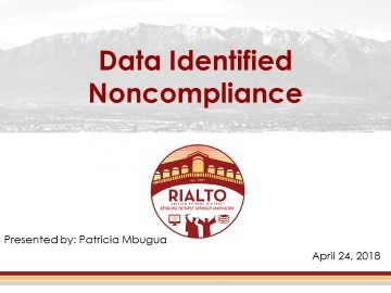 Data Identified Non Compliance