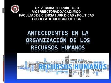 Antecedentes de los Recursos Humanos