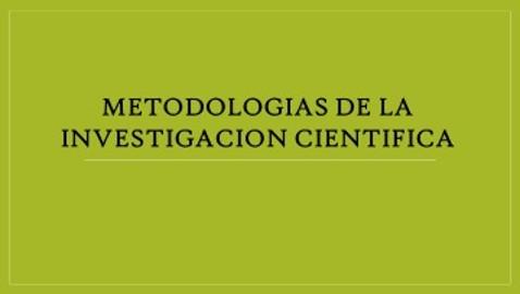 Metodologias de la Investigacion Cientifica