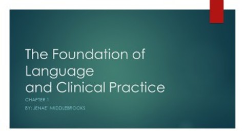 The Foundations of Language and clinical practice.