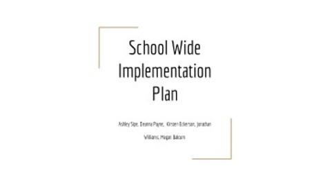 School Wide Implementation Plan