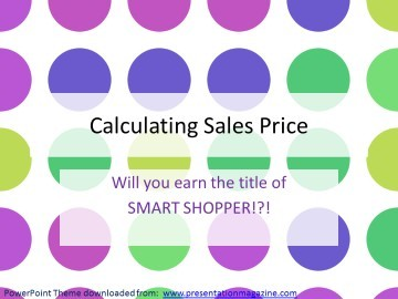Sales Price Smart Shopper Puzzle