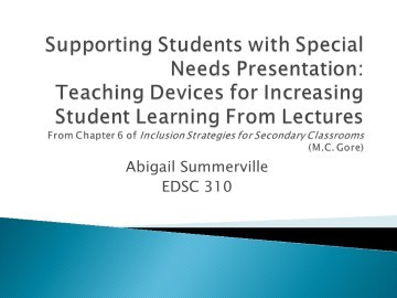 TroubleshootingSupporting Students With Special Needs Through Lecture_Summerville